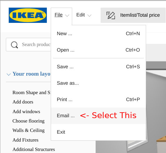 How to Share IKEA Kitchen Plan by Email